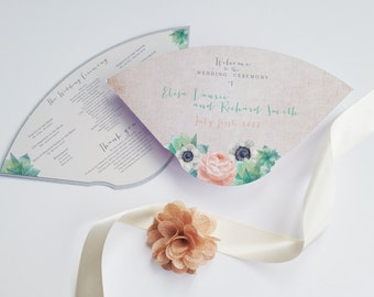 Wedding program fan - Elegant die cut fan - Bell Gardens design