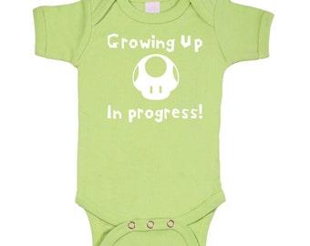 Mario Mushroom / Growing Up bodysuit onesie Geek Baby / 3M/6M