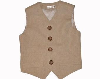 Boys Vest, Taupe, Linen, Vest, Ring bearer, Wedding, Boys clothing, Toddler Vest, Communion, Formal boys clothing, tan linen vest,
