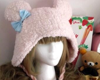 Kawaii Sweet Lolita Fairy Kei Soft Fuzzy Pink Bear Hat with Pom Poms