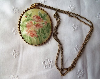 Vintage Hand Painted Porcelain Necklace by S.G.