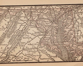 Antique Map of MARYLAND Map Vintage 1888 MINIATURE Map Gallery Wall Art Neat Gift Idea 6479
