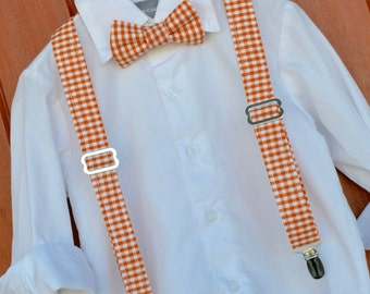 Little Boy Bowtie - Orange & White Checkered Gingham University of Tennessee Adjustable Baby / Toddler / Little Boy / Child Bowtie