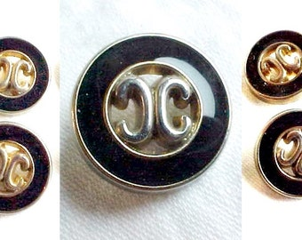 Vintage C C Monogram Designer Buttons - Golden Metal Plated Finish and Black Enamel Fashion Fasteners, Set of 4, 5/8 inch, light weight