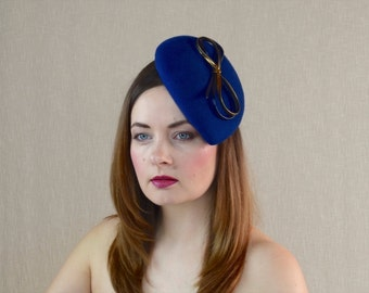 Blue Wool Felt Teardrop Pillbox Hat Fascinator with Blue and Gold Leather Ribbon Bow - Blue and Gold Fascinator - Blue and Gold Teardrop Hat