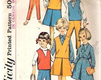 """Vintage 1964 Simplicity 5640 Girls' Blouse, Skirt, Top & Pants Sewing Pattern Size 8 Breast 26"""""""