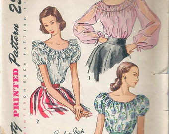 "Vintage 1948 Simplicity 2484 Misses' Gypsy Style Blouse Sewing Pattern Size 12 Bust 30"" UNCUT"