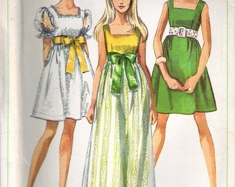 Vintage 1968 Simplicity 8061 Junior Teen Mod Dress in Two Lengths Sewing Pattern Size 12 Bust 34""