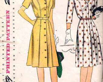 """Vintage 1940's Simplicity 4650 Button or Fly Front Dress Sewing Pattern Size 12 Bust 30"""""""