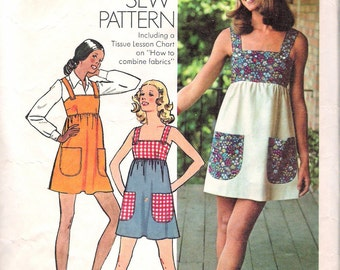 "Vintage 1973 Simplicity 5511 ""How To Sew Pattern"" Mini Dress or Jumper Sewing Pattern Size 16 Bust 38"""