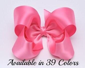 Hot Pink Hair Bow, Satin Hair Bows, Toddler Hair Bows, 4 Inch Bows, Hair Bows, Baby Hair Bows, Girls Hair Bows, Hairbows, Baby Bows, 904