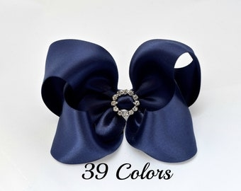 Hair Bows for Girls, Baby Hair Bows, Hair Bows, Satin Hair Bows, Navy Hair Bow, 4 inch Hair Bows, Baby Bows, Toddler Hair Bows,  Hairbows