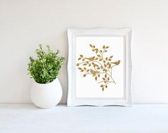Bird Art Branches Decor Gold Faux Foil Decor Minimalist Decor Gold Glitter  Modern Home Decor Gifts
