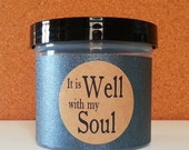 """Christian gift for men, It is Well with my Soul, Scripture Jar, Father's Day, Graduation, Get Well, Encouragment, Host gift,""""Black Linen"""""""