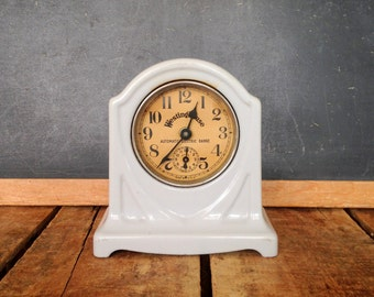 Antique Alarm Clock, Working Condition, Gray Westinghouse Range Clock, Cast Iron Clock with Light Gray Paint
