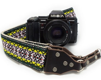 Hemp Camera Strap - Green Psychedelic Woven Ribbon on Organic Hemp Webbing and Leather Ends - works with DSLR, SLR and Manual Cameras