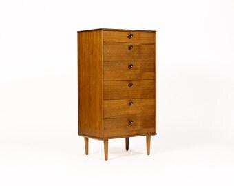 Danish Modern / Mid Century Teak Upright Chest of Drawers / Dresser — Narrow width — Six Drawer