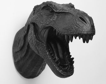 Dinosaur Wall Mount in Black - The Rufus Black Resin T-Rex Wall Decor - Trex Dinosaur Decor by White Faux Taxidermy- Chic Bedroom Art