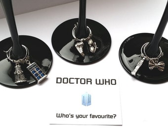 WINE CHARMS Doctor Who themed set of 6 with their own message card and organza bag