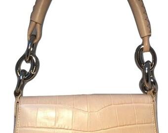 Escada Cream alligator embossed leather handbag