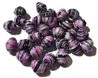 Textile Beads, Fabric Beads, Purple, Silver, Black Multicolored Small Spacer Sized Diamond Bicone Unique Beads