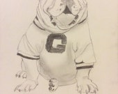 Bulldawg Sitting on His Foot - Framed Original Pencil Drawing