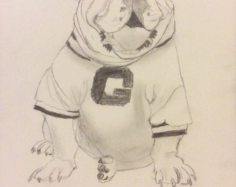Bulldawg Sitting on His Foot - Framed Original Pencil Drawing - Last day at this SALE price
