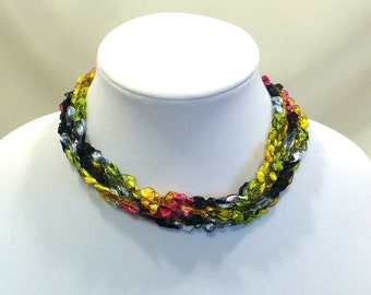 Multicolor Ladder Yarn Necklace - Handmade Fiber Necklace in Stained Glass Colors, Crochet Choker, Vegan Jewelry, Ready to Ship