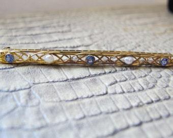 14k Antique Sapphire & Pearl 14kt Karat Yellow Gold Edwardian Bar Pin Brooch. C.1900 Fine Gold Antique Sapphire n Pearl Gemstone Jewelry Pin