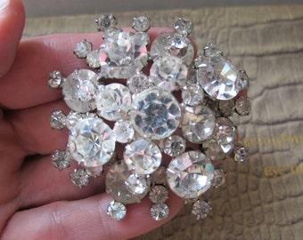 Big Wow Factor CLEAR RHINESTONE Tiered Brooch Pin. 1950's Fabulous Fashion Brooch. Hollywood Old School Style. Fine Austrian Crystal Jewelry