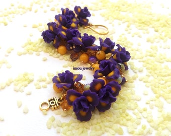 Flower Jewelry Purple Jewelry Iris Bracelet Purple Flowers Handmade Bracelet Flower Bracelet Spring Jewelry Flowers Wedding Anniversary Gift