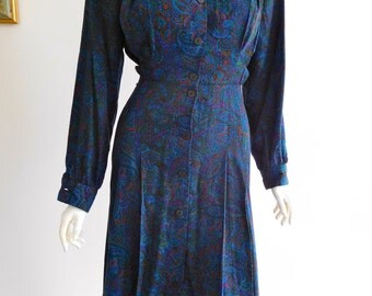 80s does 40s Paisley Dress Size 14