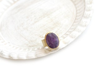 Adjustable Oval Violet Jade Gold Plated Ring