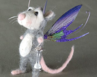 """Needle felted mouse, 5.5"""" tall, Fairy timekeeper art doll"""