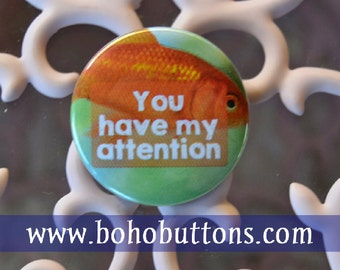 Goldfish Pin, Funny Pinback Button, Humor Button, Funny Patch, Social, Internet Meme Quote, Meme Magnet, Funny Patches, Social, Party Favor