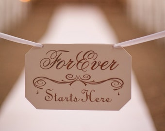 """Wedding Sign """"Forever Starts Here"""" Hand Painted and Laser Engraved Perfect Wedding Décor"""