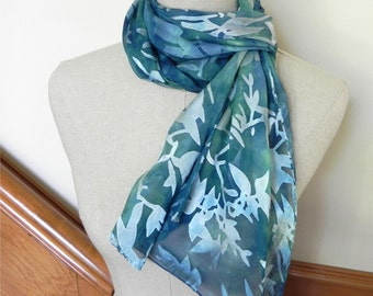 Hand dyed silk scarf shades of blue green Long Devore satin silk scarf is ready to ship Gifts for her Gifts under 50 Silk scarf #491,