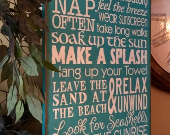 Personalized Large Beach Rules Wooden Typography Primitive Sign