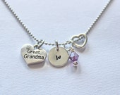 Great Grandma Initial Necklace - Charm Necklace, Necklace Charm, Great Grandma Gifts, Great Grandma Ideas, Affordable Gifts, Grandma Gifts