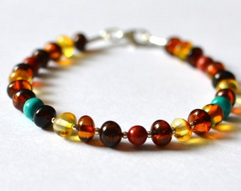 coral, turquoise, amber bracelet / amber / amber jewelry / bracelet