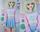 Slim MSD Minifee or SD BJD Crop Sweater - Cry Baby Heart