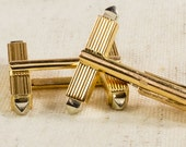 LISA Bold 18K Two Tone Men's Double Bar Ridged Design High Polished Simple Classic Streamline Antique Vintage Cuff Links FREE SHIPPING!