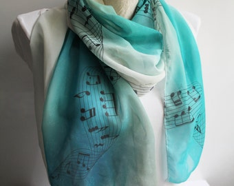 Music Scarf Treble Clef Infinity Scarf Musician Gift Ideas Women Accessories Ombre Scarf Music Lover Gift for Her