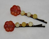 Yellow Agate, Carnelian & Crystals Hand Made Bobby Pins