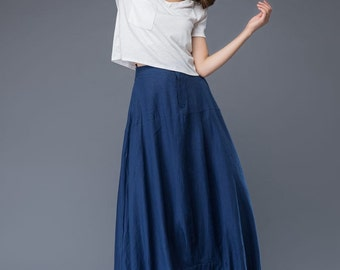 Maxi skirt, blue skirt, linen skirt, Modern skirt, womens skirts, pocket skirt, long skirt, asymmetrical skirt, blue maxi skirt C950