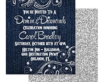Denim Invitations Etsy