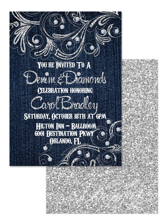 5x7 denim and diamonds invitation you print denim and
