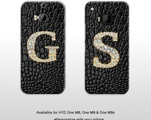 Gold bling monogram HTC One M8 M9 M9s phone case. Mothers day gift Personalize with your initial hard plastic phone cover FP186