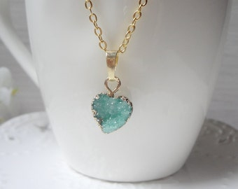 mini green heart Druzy Necklace, Winter Jewelry, Gift for Her, Raw Crystal Necklace