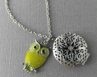 Essential Oil Necklace, Stainless Steel Diffuser Locket, Owl Necklace, Aromatherapy Jewelry, Essential Oil Locket, Oil Diffuser Jewelry